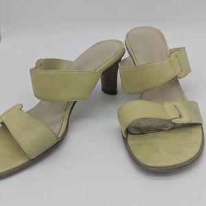 Anne Klein green leather sandals
